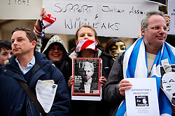 UK ENGLAND LONDON 11DEC10 - Supporters of Wikileaks stage a demonstration Outside the US embassy demanding the release of its founder Julian Assange...Assange was arrested in London by the Metropolitan Police Service on 7 December by appointment, after a voluntary meeting with the police. Later that day, Assange was refused bail and held in custody on remand...jre/Photo by Jiri Rezac..© Jiri Rezac 2010