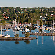 Boats in a harbor on the Baltic Sea in Sweden