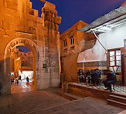 Roman arch east of Umayyad Mosque and sheesha cafe, Damascus, Syria