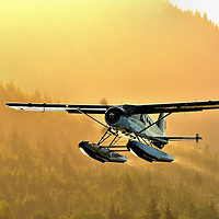 Floatplane Taking Off at Sunrise in Ketchikan, Alaska<br />