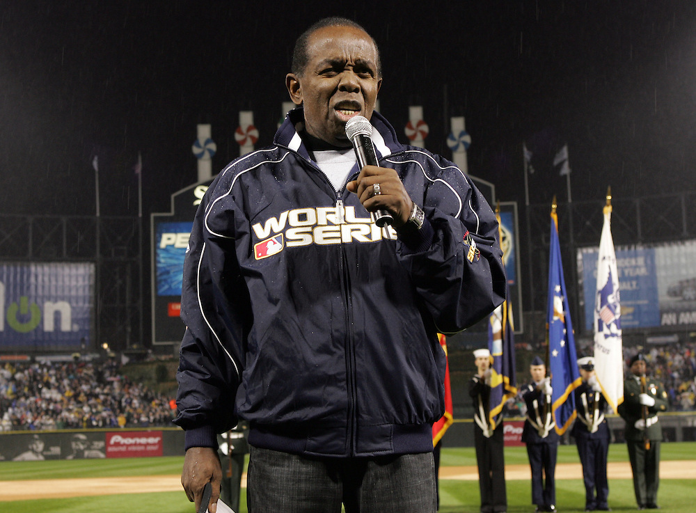 CHICAGO - OCTOBER 23:  Lou Rawls sings the National Anthem prior to  Game 2 of the 2005 World Series between the Chicago White Sox and Houston Astros at U.S. Cellular Field on October 23, 2005 in Chicago, Illinois.