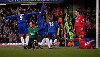 Photo: Daniel Hambury.<br />Chelsea v Liverpool. The Barclays Premiership. 05/02/2006.<br />Chelsea's William Gallas (13) runs away to celebrate scoring the first goa.