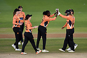 Stafanie Taylor of Southern Vipers celebrates the wicket of Eleanor Threlkeld during the Women's Cricket Super League match between Southern Vipers and Lancashire Thunder at the 1st Central County Ground, Hove, United Kingdom on 15 August 2019.