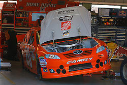 June 25, 2011; Sonoma, CA, USA;  The car of Sprint Cup Series driver Joey Logano (not pictured) is worked on the the garage before practice for the Toyota/Save Mart 350 at Infineon Raceway.