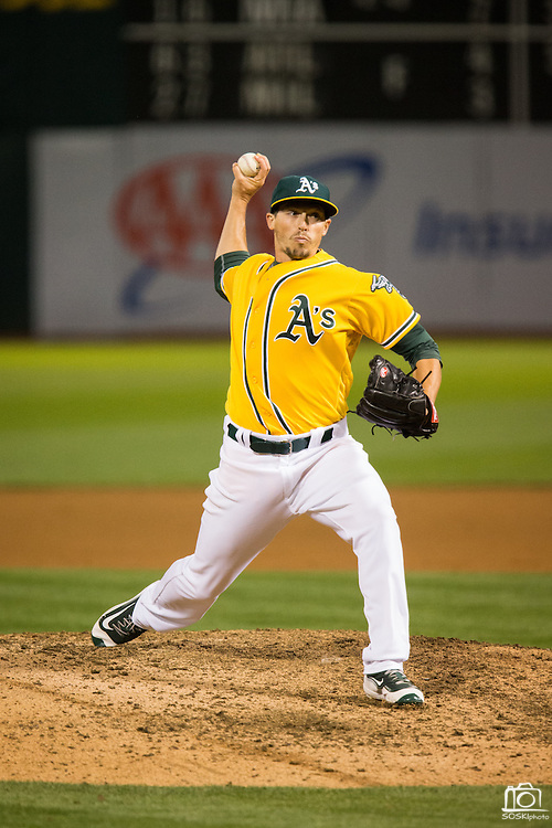 Oakland Athletics relief pitcher Ryan Dull (66) pitches against the Baltimore Orioles at Oakland Coliseum in Oakland, Calif. on August 8, 2016. (Stan Olszewski/Special to S.F. Examiner)