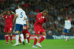 LONDON, ENGLAND - Tuesday, September 6, 2011: Wales' Robert Earnshaw looks dejected after his miss during the UEFA Euro 2012 Qualifying Group G match at Wembley Stadium. (Pic by Gareth Davies/Propaganda)