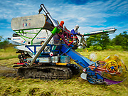 08 NOVEMBER 2017 - NONG SAENG, NAKHON NAYOK, THAILAND:  A rice harvesting machine cuts rice in a field during the 2017 rice harvest in Nakhon Nayok province. Thailand is the second leading rice exporter in the world and 16 million Thais work in the rice industry.      PHOTO BY JACK KURTZ