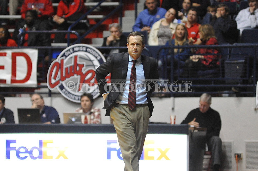 """Ole Miss vs. East Tennessee State head basketball coach Murry Bartow at the C.M. """"Tad"""" Smith Coliseum in Oxford, Miss. on Saturday, December 14, 2012. Mississippi won 77-55 to improve to 7-1. (AP Photo/Oxford Eagle, Bruce Newman).."""