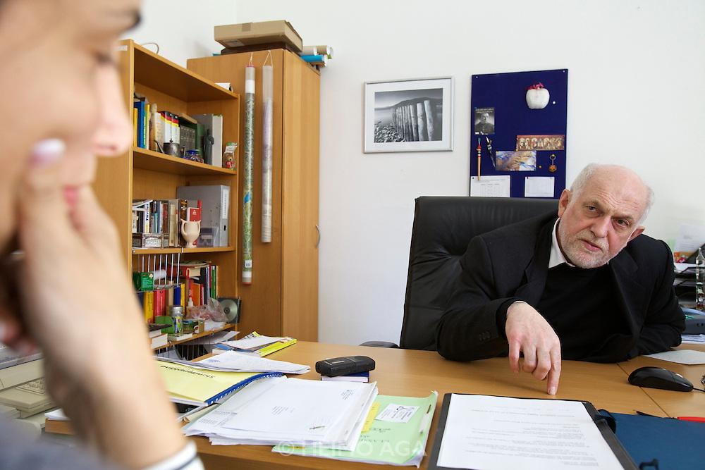 Vienna. Islamic Gymnasium Vienna(Islamisches Realgymnasium Wien). School Director Mr. Sommer being interviewed by Cigdem Akyol.