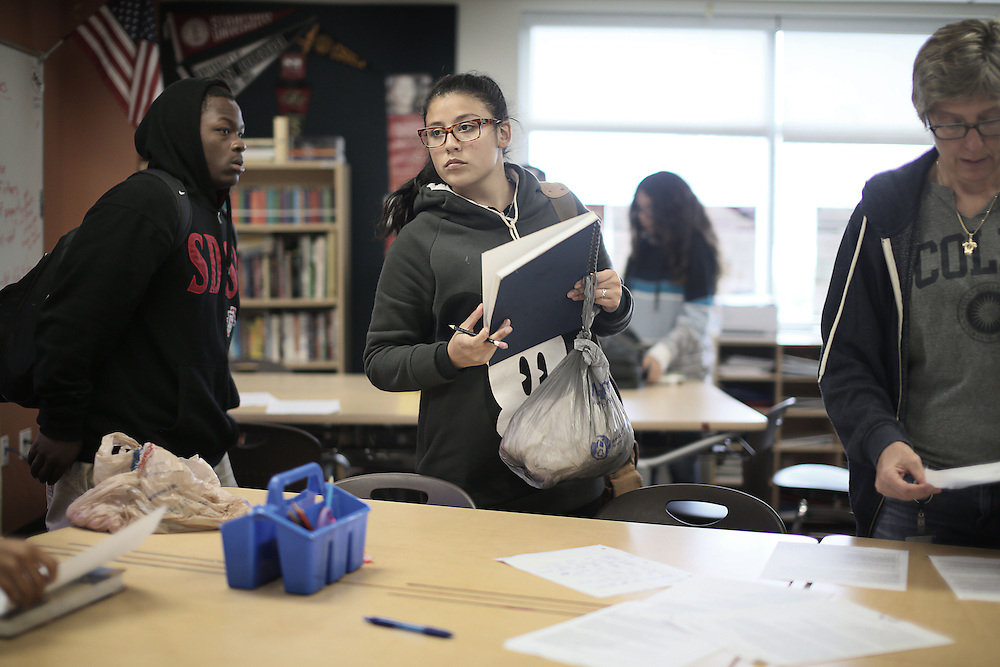 High School Students pick up their belongings after the bell  at the Monarch School in San Diego, CA on Friday, May 15, 2015.  The Monarch School is the largest elementary through High School facility that caters to students that are homeless or are have associations with homelessness.(Photo by Sandy Huffaker for The Atlantic)