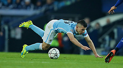 MANCHESTER, ENGLAND - Tuesday, March 15, 2016: Manchester City's Sergio Aguero in action against FC Dynamo Kyiv during the UEFA Champions League Round of 16 2nd Leg match at the City of Manchester Stadium. (Pic by David Rawcliffe/Propaganda)