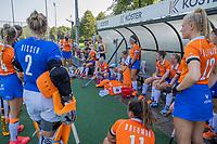 BLOEMENDAAL   -  teambespreking Bloemendaal  tijdens oefenwedstrijd dames Bloemendaal-Victoria, te voorbereiding seizoen 2020-2021.   COPYRIGHT KOEN SUYK