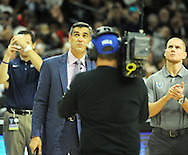 EDITORS PLEASE NOTE: BANNER WAS IN RAFTERS BEFORE GAME: The Villanova Wildcats head coach Jay Wright makes remarks before the 2016 NCCA Championship banner is unveiled from the rafters at tipoff against Indiana University of Pennsylvania Saturday, November 5, 2016 at the Wells Fargo Center in Philadelphia, Pennsylvania. (WILLIAM THOMAS CAIN / For The Philadelphia Inquirer)