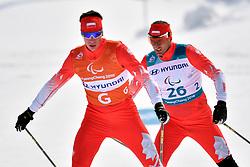 GARBOWSKI Piotr POL B3 Guide: TWARDOWSKI Jakub competing in the ParaSkiDeFond, Para Nordic Skiing, 20km at  the PyeongChang2018 Winter Paralympic Games, South Korea.