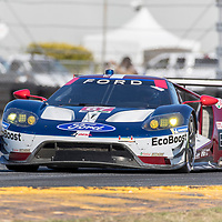 January 06, 2018 - Daytona Beach, Florida, USA:  The Ford Chip Ganassi Racing Ford GT races through the turns at the Roar Before The Rolex 24 at Daytona International Speedway in Daytona Beach, Florida.
