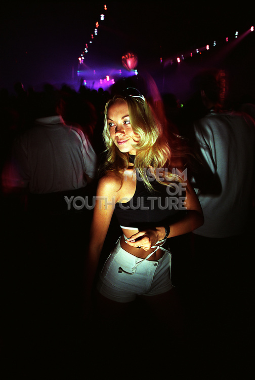 Girl at a rave, 22 June 1996, World Dance Lydd