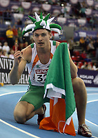 Photo: Rich Eaton.<br /> <br /> EAA European Athletics Indoor Championships, Birmingham 2007. 03/03/2007. David Gillick of Ireland celebrates victory in the mens 400m final where he won gold