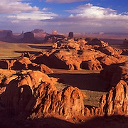 View from atop Hunt's Mesa in Monument Valley Tribal Park on the Navajo Reservation, AZ.