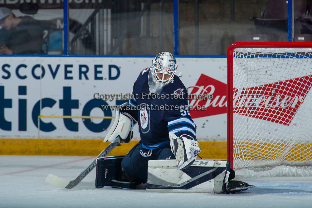 PENTICTON, CANADA - SEPTEMBER 9: Jamie Phillips #50 of Winnipeg Jets makes a first period save against the Edmonton Oilers on September 9, 2017 at the South Okanagan Event Centre in Penticton, British Columbia, Canada.  (Photo by Marissa Baecker/Shoot the Breeze)  *** Local Caption ***
