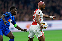 Ryan Babel #49 of Ajax and Dakonam Djene #2 of Getafe in action during the Europa League match R32 second leg between Ajax and Getafe at Johan Cruyff Arena on February 27, 2020 in Amsterdam, Netherlands