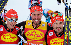 17.12.2016, Nordische Arena, Ramsau, AUT, FIS Weltcup Nordische Kombination, Langlauf, im Bild Eric Frenzel (GER, 3. Platz), Sieger Johannes Rydzek (GER), Fabian Riessle (GER, 2. Platz) // 3rd placed Eric Frenzel of Germany, Winner Johannes Rydzek of Germany, 2nd placed Fabian Riessle of Germany during Cross Country Competition of FIS Nordic Combined World Cup, at the Nordic Arena in Ramsau, Austria on 2016/12/17. EXPA Pictures © 2016, PhotoCredit: EXPA/ Martin Huber
