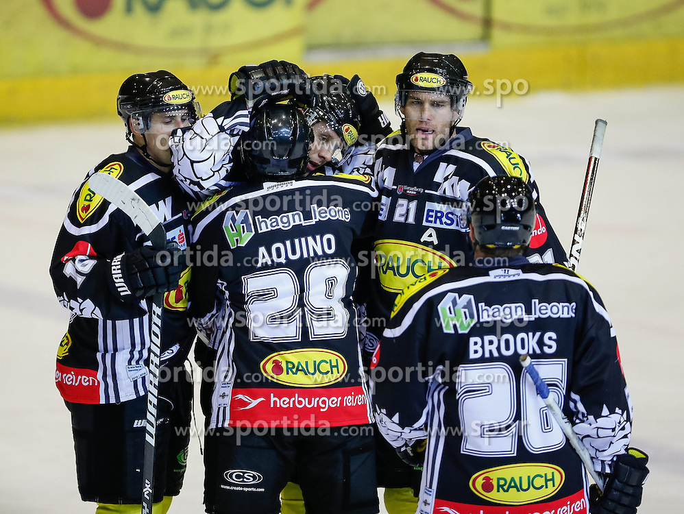 29.09.2013, Messestadion, Dornbirn, AUT, EBEL, Dornbirner EC vs EC KAC, 13. Runde, im Bild Torjubel bei Dornbirner EC// during the Erste Bank Icehockey League 13th round match between Dornbirner EC and EC KAC the Exhibition Stadium, Dornbirn, Austria on 2013/09/29, EXPA Pictures © 2013, PhotoCredit: EXPA/ Peter Rinderer