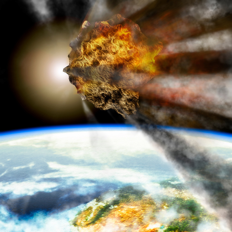 Photo illustration of a meteor beginning its descent into the Earth's atmosphere.