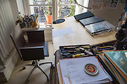 March 6, 2015, Paris, France. The empty chair of Georges Wolinski (1934 -2015) in his studio, the last non finished drawing lays on the drawing table. The cartoonist Georges Wolinski was 80 years old when he was murdered by 2 French jihadists, he was one of the 12 victims of the massacre in the Charlie Hebdo offices on January 7, 2015 in Paris. Two month after the attack little has changed in the artist studio. Charlie Hebdo published caricatures of Mohammed, considered blasphemous by some Muslims. During his life, Georges Wolinski defended freedom, secularism and humour and was one of the major political cartoonists in France. Photo: Steven Wassenaar.