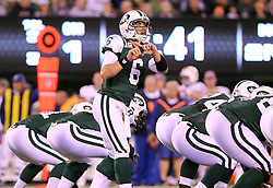 October 17, 2011; East Rutherford, NJ, USA; New York Jets quarterback Mark Sanchez (6) calls an audible during the first half at the New Meadowlands Stadium.