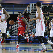 Grand Rapids Drive Guard L.D. Williams (12) dribbles the ball up court in the second half of a NBA D-league regular season basketball game between the Delaware 87ers and the Grand Rapids Drive (Detroit Pistons) Friday, Jan. 09, 2015 at The Bob Carpenter Sports Convocation Center in Newark, DEL