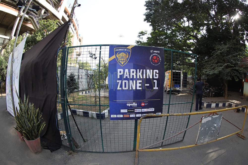 Sign board of Chennai stadium during match 41 of the Hero Indian Super League between Chennaiyin FC and Delhi Dynamos FC   held at the Jawaharlal Nehru Stadium, Chennai India on the 7th January 2018<br /> <br /> Photo by: Arjun Singh  / ISL / SPORTZPICS