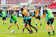 ALKMAAR - 19-10-2016, training persconferentie AZ, AFAS Stadion, AZ speler Ben Rienstra, AZ speler Derrick Luckassen, AZ speler Stijn Wuytens, AZ speler Wout Weghorst