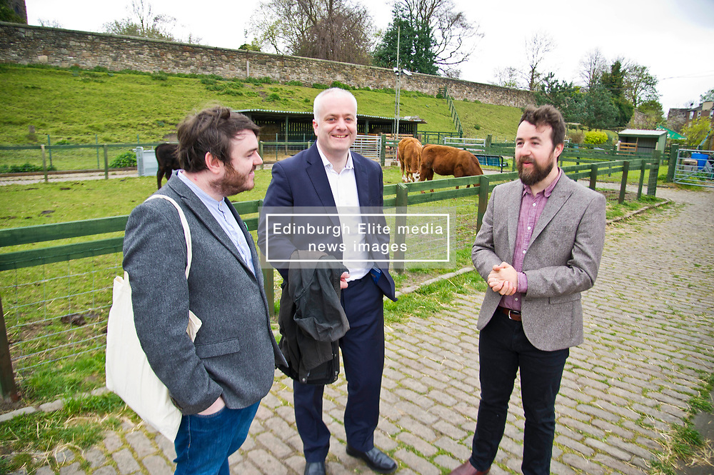 Pictured: Chief Executive of Gorgie City Farm Josiah Lockhart, Mark Ruskell and local candidate Dan Heap.<br /> Scottish Greens on local election campaign trail. Mark Ruskell MSP, the party's environment spokesperson, joined candidate for the Sighthill/Gorgie ward Dan Heap on a visit to Gorgie city farm. The pair met Chief executive of the farm, Josiah Lockhart and Develoopment and fundraising manager, Sarah Campbell during their tour.<br /> <br /> <br /> Ger Harley | EEm 19 April 2017