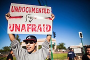 20 MARCH 2012 - PHOENIX, AZ: A high school student demonstrates against deportation during a student protest in support of the DREAM Act on 75th Ave in front of Trevor G. Browne High School Tuesday.    PHOTO BY JACK KURTZ