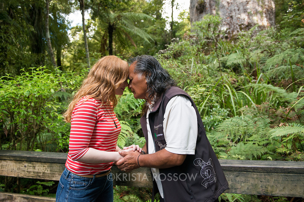 Actor Bryce Dallas Howard with Bill Matthews, a guide from Footprints Waipoua & Crossings Hokianga. Behind the scenes on the TNZ/BDH film shoot. New Zealand's largest known living kauri tree, Tane Mahuta, is said to be over 2,000 years old and the name means Lord of the Forest in Maori. It is found in the Waipoua Forest which is part of the largest remaining tract of native forest in the Northland Region on the North Island of New Zealand.