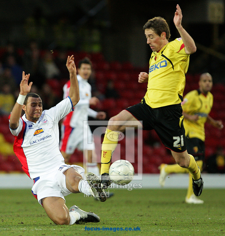London - Saturday, January 5th, 2008: Tommy Smith of Watford and John Bostock of Crystal Palace during the FA Cup third round match at Vicarage Road, Watford. (Pic by Oli Scarff/Focus Images)