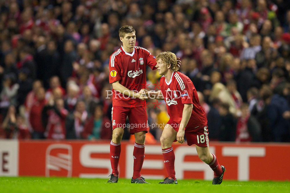 LIVERPOOL, ENGLAND - Thursday, April 29, 2010: Liverpool's captain Steven Gerrard MBE and Dirk Kuyt look dejected after their side are knocked out of the UEFA Europa League by the away goals rule after winning 2-1 on the night (2-2 agg) Semi-Final 2nd Leg match at Anfield. (Photo by: David Rawcliffe/Propaganda)
