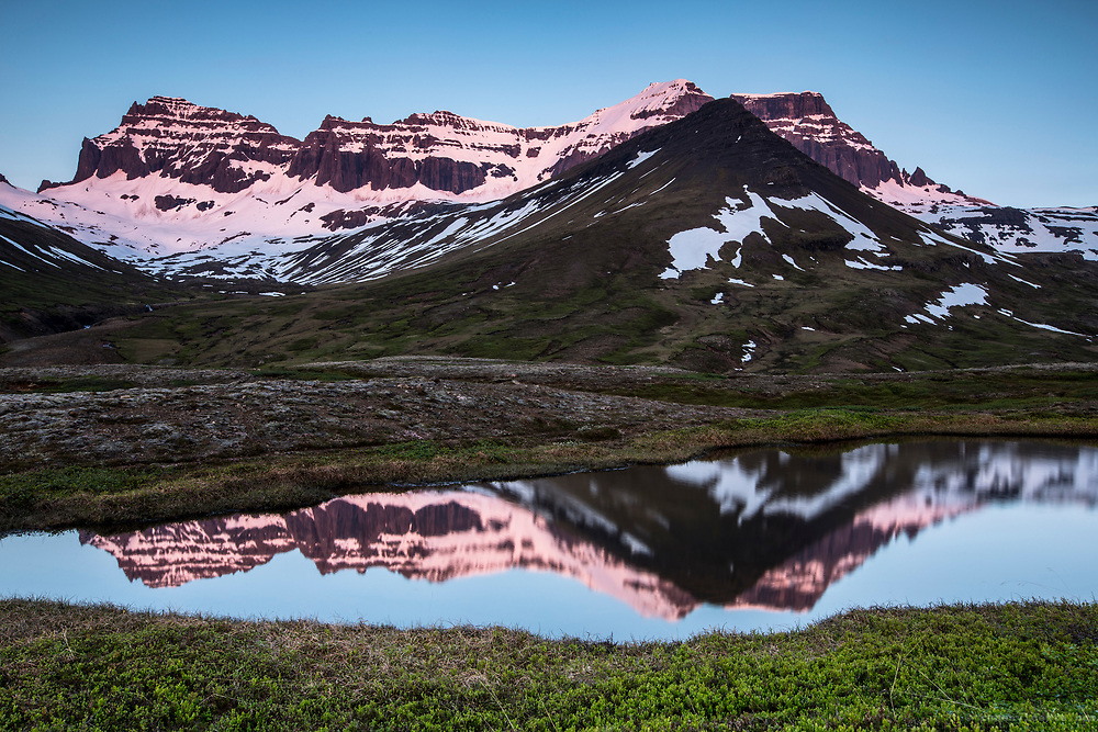 Snow mountain reflection. Iceland