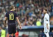 Sergio Ramos and Harry Kane  during the Champions League match between Real Madrid and Tottenham Hotspur at the Santiago Bernabeu Stadium, Madrid, Spain on 17 October 2017. Photo by Ahmad Morra.