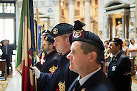 ROME, ITALY - 29 JULY 2014: Honor Guards to the royal tombs of the Pantheon attend a mass that commemorates the anniversary of the assassination of King Umberto I (King of Italy between 1878 and 1900), at the Pantheon in Rome, Italy, on July 29th 2014.<br /> <br /> The National Institute for the Honor Guards to the royal tombs of the Pantheon is a monarchic-oriented whose goal is to watch over the royal tombs at the Pantheon. Italy's first king, Vittorio Emanuele II and his son Umberto I, as well as Umberto's wife Queen Margherita are entombed in the Pantheon.