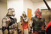 Anaheim , California - April 11, 2015: Lamia Knights (L-R) Adam Larios, Alexander Casillas, and William Becking wait outside the Anaheim Central Library meeting room where MicroCon 2015 takes place in California Saturday April 11, 2015. The Lamia Knights are the official sports team of the Shiloh micronation. They would later demonstrate 45 seconds of combat during MicroCon 2015. <br /> <br /> <br /> MicroCon 2015 is a Micronation conference held at the Anaheim Central Library.<br /> CREDIT: Matt Roth