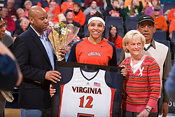 Virginia guard Britnee Millner (12) is honored on senior day.  The #21 ranked Virginia Cavaliers defeated the Boston College Eagles 90-70 at the John Paul Jones Arena in Charlottesville, VA on February 22, 2009.