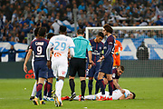 Red cart of Neymar of PSG during the French Championship Ligue 1 football match between Olympique de Marseille and Paris Saint-Germain on October 22, 2017 at Orange Velodrome stadium in Marseille, France - Photo Philippe Laurenson / ProSportsImages / DPPI