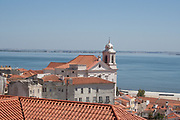 view of Lisbon city center particular with curch