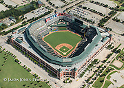 Aerial photography of professional baseball stadium and surrounding property