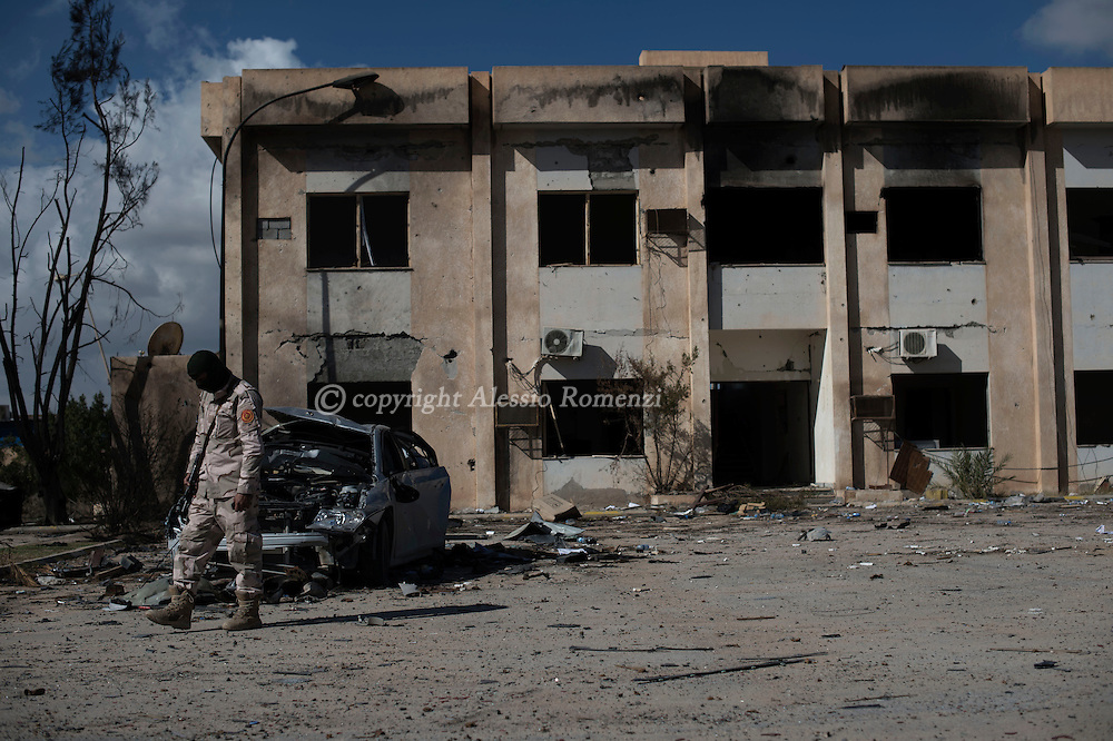 Libya, Zliten: Aftermath of the terror attack at Zliten police base that left 62 dead and almost 150 wounded. <br /> On January 7, 2016 a water tank full of explosive enter the gate of al-Jahfal training camp and exploded as recruits were training in the front yard. Alessio Romenzi/CESURA
