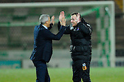Carlisle Utd manager Keith Curle with a member of the playing staff after the penalty shoot-out win over Yeovil during the The FA Cup Third Round Replay match between Yeovil Town and Carlisle United at Huish Park, Yeovil, England on 19 January 2016. Photo by Graham Hunt.