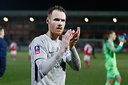 Tom Naylor of Portsmouth applauds the fans at full time during the The FA Cup match between Fleetwood Town and Portsmouth at the Highbury Stadium, Fleetwood, England on 4 January 2020.