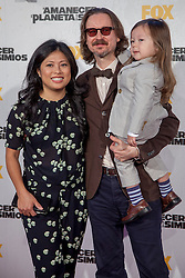 Image &copy;Licensed to i-Images Picture Agency. 16/07/2014. Madrid, Spain. Director Matt Reeves with wife and son attends the 'Dawn Of The Planets Of The Apes' premiere at Capitol Cinema. Picture by DyD Fotografos / i-Images<br /> SPAIN OUT