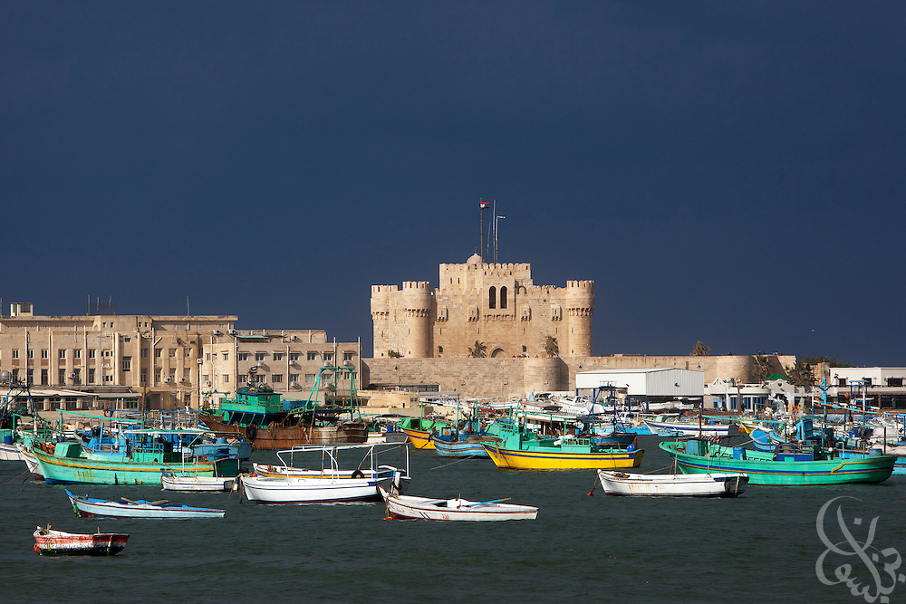 The Qait bay fortress stands now where the ancient lighthouse once stood February 02, 2012 in the harbor of Alexandria, Egypt. The Lighthouse was built between 270 and 247 BC and was destroyed by an earthquake in the 14th century. (Photo by Scott Nelson)